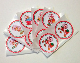 Vintage, Strawberry Shortcake, Stickers, Birthday Party, Baby Shower, Favor Bag Stickers, Gift Bag Stickers, Envelope Seals, Set of 6 or 12