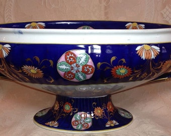 GAUDY Compote Cobalt & Gold Ashworth Ironstone ANTIQUE Footed Bowl LARGE