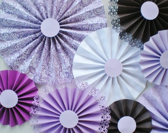 Lavender paper rosettes, lavender, brown, white, various shades of purple for wedding photo backdrops, baby showers, home decor, pinwheels