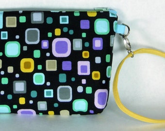 Small Black / Geometric Print Wristlet / Small Purse / Handbag or Cosmetic Bag