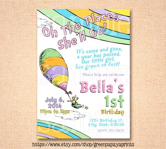Oh The Places You'll Go Birthday Invitation By