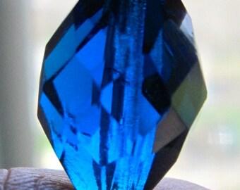 4 1920's Glass Czech Blue Beads