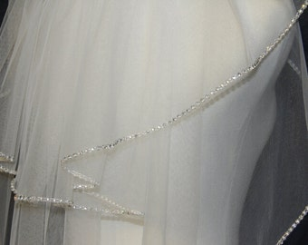 2T ivory white bridal veil handmade diamond wedding veil
