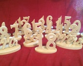 """1-18 1/2"""" thick Mr & Mrs Unfinished wooden wedding table numbers  Wedding table numbers  Wooden  table number Kit DIY table numbers"""