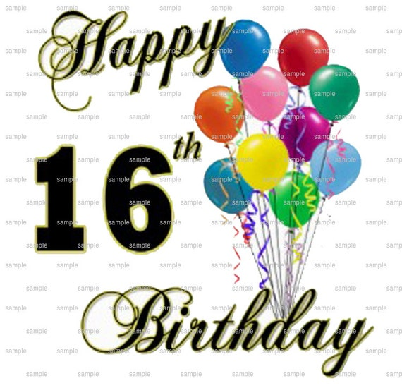 Happy 16th Birthday Gift Ideas Spaceform Sweet Sixteen: Happy 16th Birthday Edible Cake And Cupcake Topper For