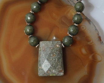 Autumn Jasper & Green Jade Necklace With Matching Earrings #101