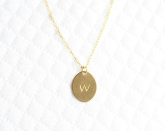 Girls Personalized Brass Necklace, Girls Monogrammed Necklace, Brass Charm Initial Necklace, Gold Necklace