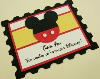 Mickey Mouse Thank You Card - 10 per pack - Handmade