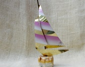 Mid century brass sailboat Sculpture // Stone and Brass sculpture // vintage nautical home decor