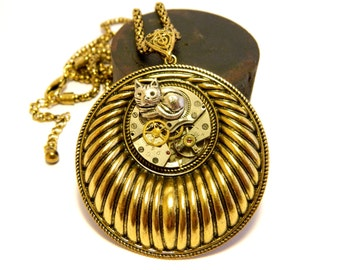 """Silver colored cat steampunk jewelry """"Nestled in time"""", unique old gold colored pendant and chain, unusual steam punk gift, old clockwork"""