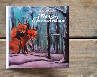 """Christmas card """"Little FOXES in the SNOW"""" based on original painting"""