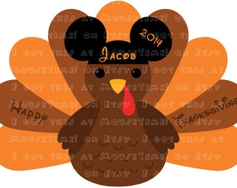 IRON-ON Thanksgiving Turkey WITH Ears (Mickey) - 2 Versions! - Mouse Ears Tshirt Transfer