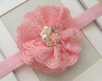 Pink headband,lace headband,pink lace headband,vintage headbands,baby headband,girls headbands,infant headbands,flower girl headbands
