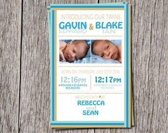 Twin BOY Birth Announcements