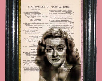 Actress Betty Davis Art - Vintage Dictionary Page Book Art Print Upcycled Page Art Collage Print