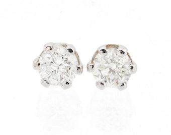 0.5 ct Carat Gold Diamond Earrings-14K White Gold Earrings-Stud Earrings-Women Jewelry-Men jewelry-Girls earrings- Sister gift-Mother gift