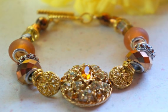Swarovski bracelet, vintage jewelry, upcycled jewelry, trendy jewelry, gold bracelet, handcrafted bracelet, repurposed jewelry