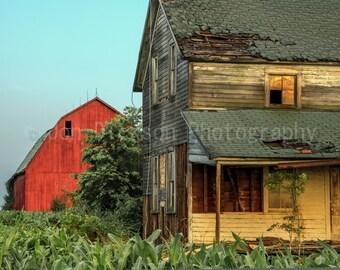 Abandoned Farmhouse with Barn - Fine Art Photography - Abandoned Sunrise