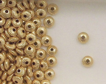 14k Gold Filled 4mm Corrugated Rondelle Spacer Beads, Choice of Lot Size & Price 704