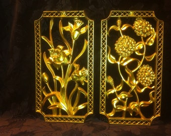 Vintage Gold Resin Wall Hangings Made by Turner Mfg. Co. 1950's. Hollywood Regecy, Mid Century,
