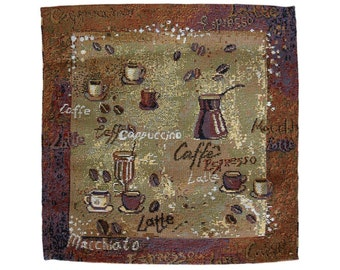 Coffee Events Tapestry Placemats Set of 6 - 27x27cm