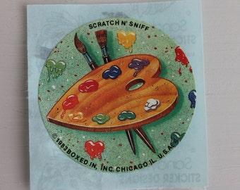 Very 80's Scratch 'n' Sniff artist's pallet sticker
