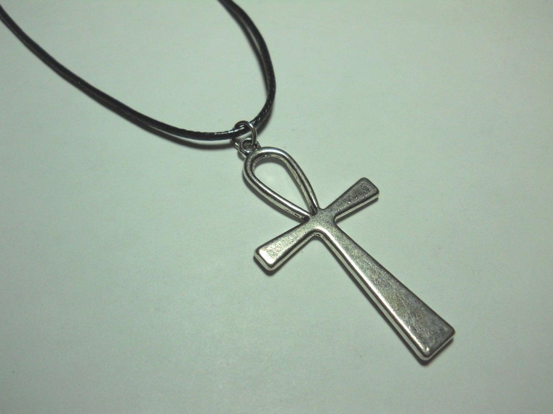 ankh pendant antique silver tone s necklace