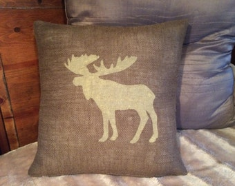 Custom made rustic country burlap moose pillow cover/sham - multiple sizes to choose