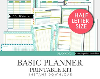 Printable Planner Set - Basic Kit - Perpetual Calendar - Aqua and Lime - Half Letter Size 5.5 x 8.5 inches