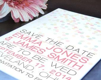 Emma Polka Dot Confetti Wedding Save the Date - Digital PDF