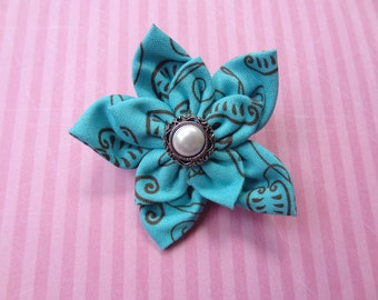 Teal and Brown Fabric Flower Hair Clip