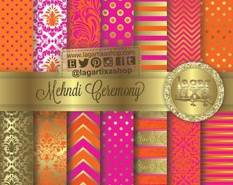 Mehndi Ceremony Gold Hot Pink Tangerine Orange Indian Wedding Digital Paper Patterns Backgound for Invitations Labels Thank you cards
