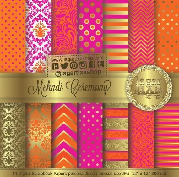 Mehndi Ceremony Gold Hot Pink Tangerine Orange Indian Wedding