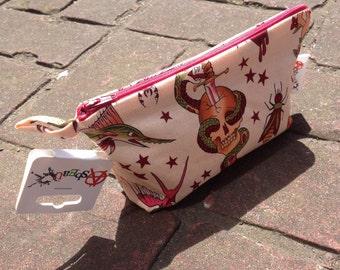 Handmade Fully lined make up bag *Peach Tattoo Flash*