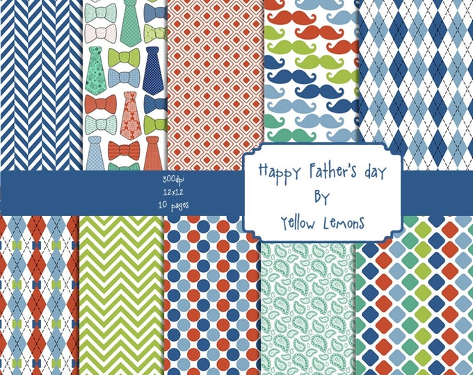 Instant download- Dad Father scrapbook paper (Happy fathers day) Digital Paper Pack