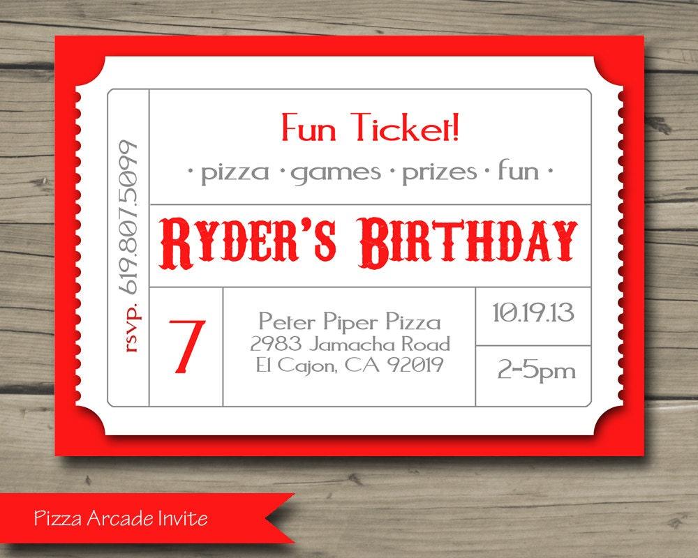 Pizza Arcade Birthday Party Invitation Printable Birthday – Arcade Party Invitations