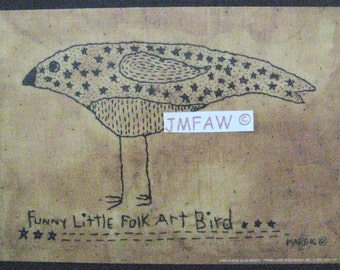 "Primitive Folk Art Print  ""Funny Little Folk Art Bird"" Copyright Lithograph Print of Original Handcrafted Stitchery"