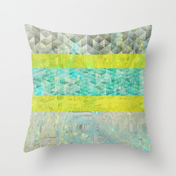 Etsy Yellow Throw Pillow : Items similar to Geometric Throw Pillow Cover Teal Yellow Grey White Abstract Modern Home Decor ...