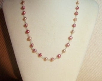 Pink Freshwater Pearl Handmade Sterling Chain, 18 Inches - Wire Wrapped