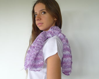 Cotton lilac and white hand knitted scarf. Light scarf.  Lilac neck warmer. Lilac and white shawl. Spring scarf. Summer scarf. KEENbyAM