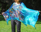 Peacock poncho,peacock tunic, hand painted poncho