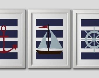 nautical wall art  PRINTS, nautical home decor, nautical nursery decor, sailboat, anchor, navy blue stripes, red blue, nautical wall art