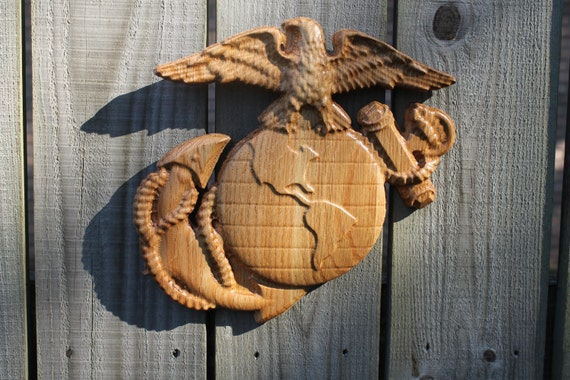 Marine corps ega d carved wood small by tawoodandvinyl