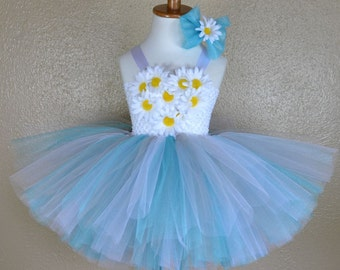 Daisy Love Ballerina Style Tutu Dress for Birthdays, Pageants, Photos in Teal Grey and White