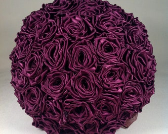 Plum Satin Rose Bridal Bouquet With Display Stand