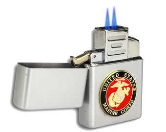 Double Flame Butane Torch Lighter with Marine Emblem