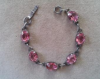 Vintage Sterling and Pink Glass Bracelet