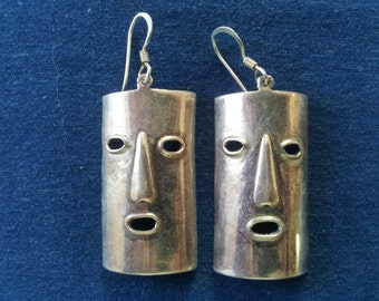 Vintage Sterling Artisan Mask Earrings