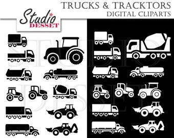 Truck Cliparts, Tractor Clip Art, Digital Tractor Silhouette in Black and White, Elements for Card Making, Scrapbooking Supplies C272