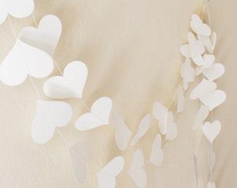 White paper heart garland 10ft, wedding decor, Party decoration, Wedding garland